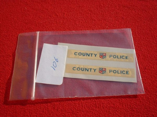"Corgi Toys 464A COMMER VAN ""COUNTY POLICE"" TRANSFERS / DECALS"